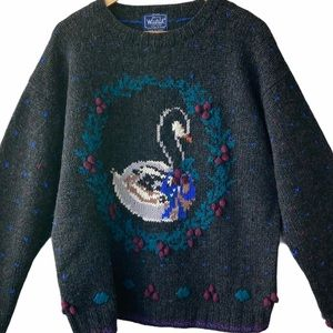 Woolrich Vintage  Gray Christmas Swan Sweater XL